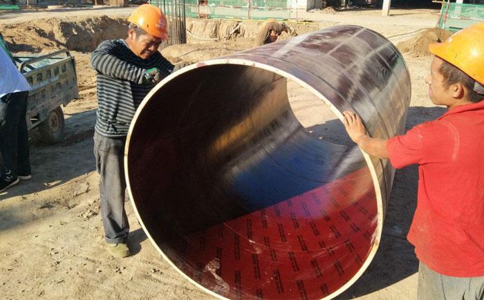 木制圆模板施工工地