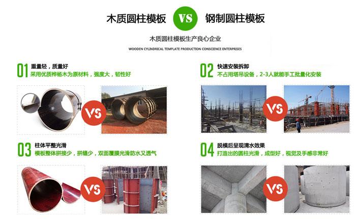 定型圆柱木模板对比圆柱钢模板