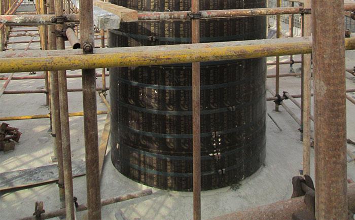 混凝土圆柱体支模底部找平