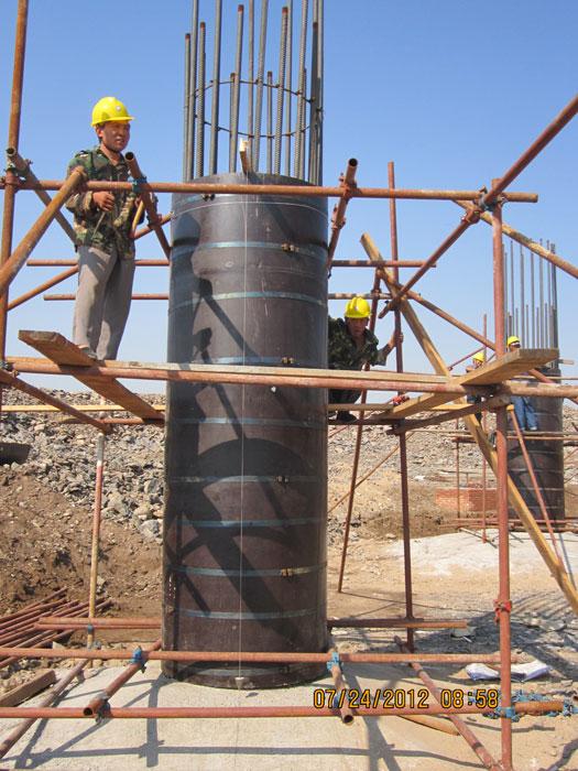 建筑圆模板支模施工现场