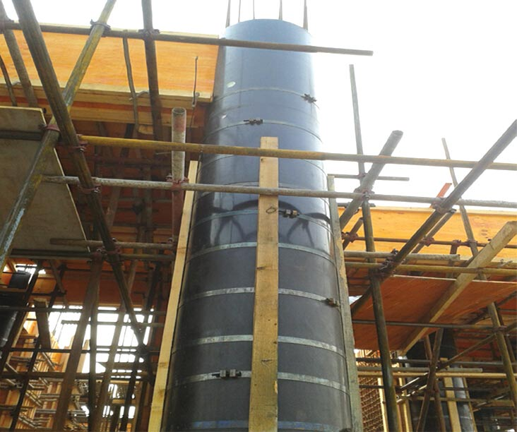 桥梁墩柱采用木制圆模板施工